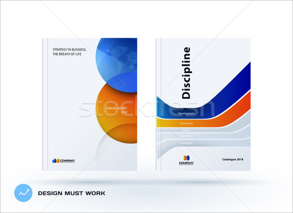 Creative design of orange blue business brochure set, abstract horizontal cover layout, flyer in A4  Stock photo © Diamond-Graphics