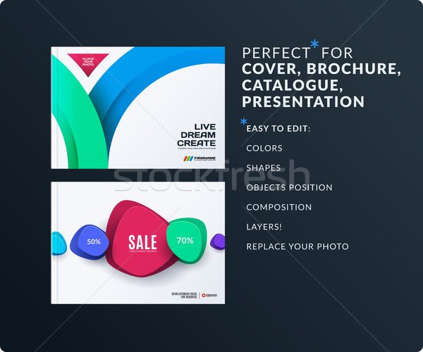 Set of design brochure, abstract annual report, horizontal cover layout Stock photo © Diamond-Graphics