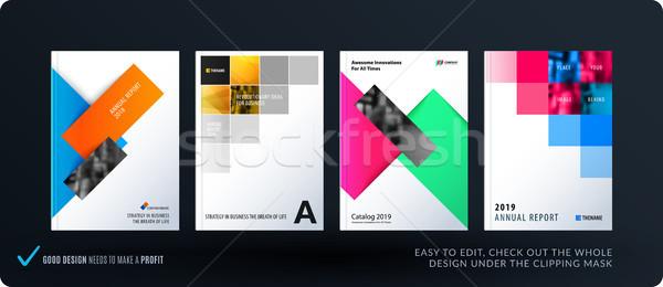 Broschüre Design rechteckige Vorlage farbenreich modernen Stock foto © Diamond-Graphics