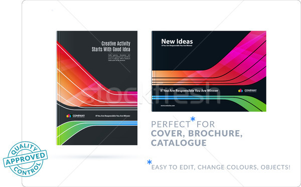 Template. Creative abstract design of brochure set, horizontal cover, flyer in A4 with colourful smo Stock photo © Diamond-Graphics