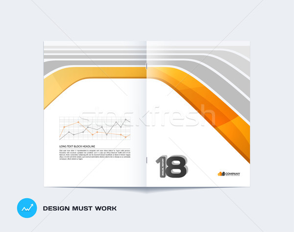 Abstract yellow grey brochure design, modern catalog, centerfold cover, flyer in A4 with colourful s Stock photo © Diamond-Graphics
