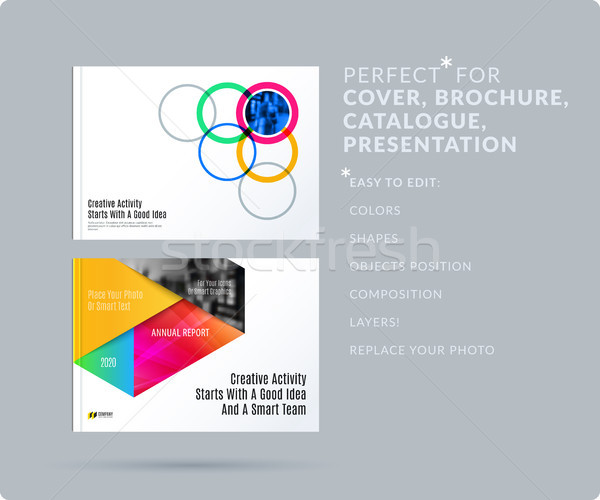Smooth design presentation template with colourful round shapes. Partnership collaboration Stock photo © Diamond-Graphics