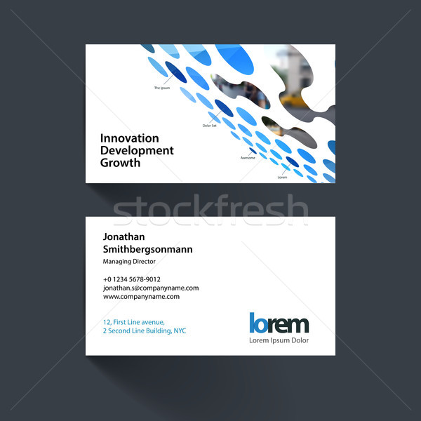 Vector business card template with perspective rounds, dots, spo Stock photo © Diamond-Graphics