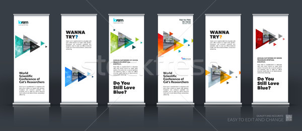 Business vector set of modern roll Up Banner stand design with f Stock photo © Diamond-Graphics