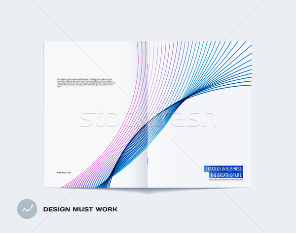 Abstract double-page brochure design soft style with colourful lines waves for branding. Business ve Stock photo © Diamond-Graphics