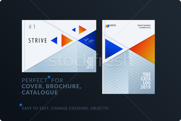 Material plantilla de diseño creativa azul naranja colorido Foto stock © Diamond-Graphics