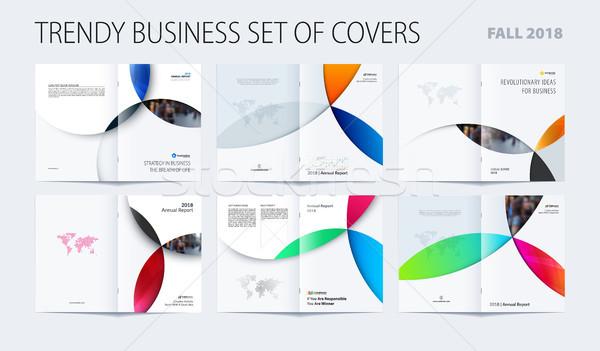 Streszczenie kolorowy broszura materiału projektu stylu Zdjęcia stock © Diamond-Graphics