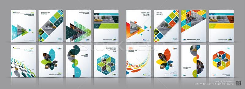 Negocios vector establecer folleto plantilla Foto stock © Diamond-Graphics