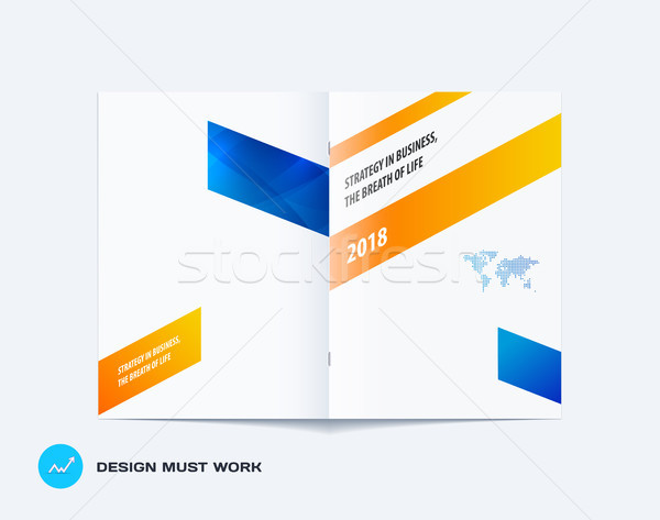 Abstract brochure design, modern annual report, centerfold cover, flyer in A4 with colourful arrows Stock photo © Diamond-Graphics