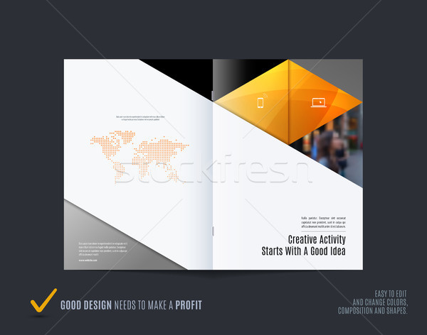 Abstract kleurrijk Geel brochure materiaal ontwerp Stockfoto © Diamond-Graphics