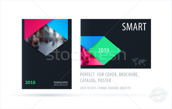 Brochure design rectangular template. Colourful modern abstract set, annual report with material des Stock photo © Diamond-Graphics