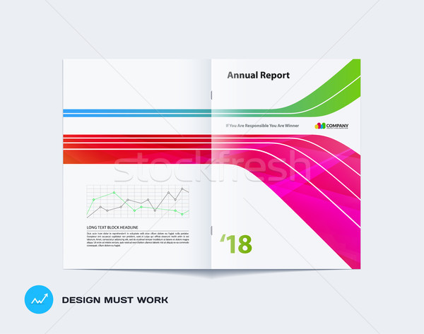 Abstract brochure design, modern catalog, centerfold cover, flyer in A4 with colourful smooth shapes Stock photo © Diamond-Graphics