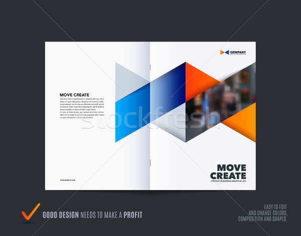 Abstract brochure ontwerp zeshoek stijl Blauw Stockfoto © Diamond-Graphics