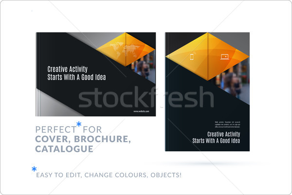 Material design template. Creative yellow colourful abstract brochure set, annual report on black ba Stock photo © Diamond-Graphics