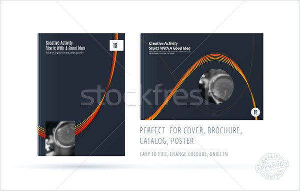 Brochure design soft template. Colourful modern abstract set, annual report with shapes for branding Stock photo © Diamond-Graphics