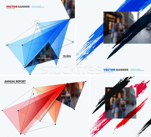 Mega set of templates, polygonal design for website, banner, stand, corporate identity Stock photo © Diamond-Graphics