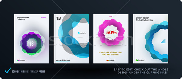 Set of design brochure, abstract annual report, horizontal cover layout, flyer in A4 with vector col Stock photo © Diamond-Graphics