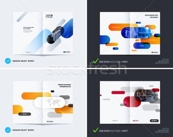 Absztrakt brosúra terv modern éves jelentés Stock fotó © Diamond-Graphics