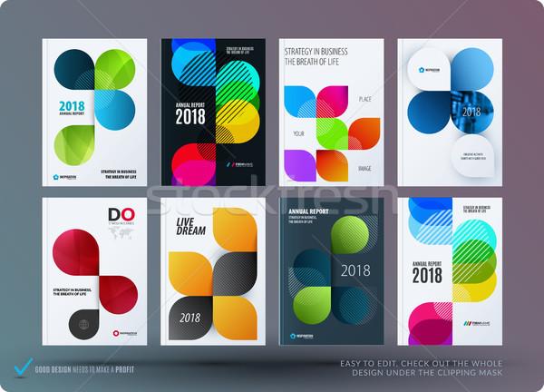 Szett terv brosúra absztrakt éves jelentés Stock fotó © Diamond-Graphics