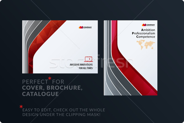 Template. Creative red abstract minimal design of brochure set, annual report, horizontal cover, fly Stock photo © Diamond-Graphics