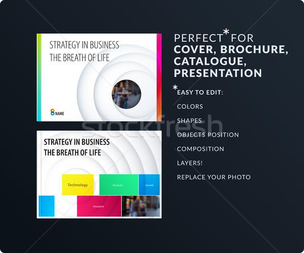 Ontwerp presentatie sjabloon kleurrijk cirkels schaduwen Stockfoto © Diamond-Graphics