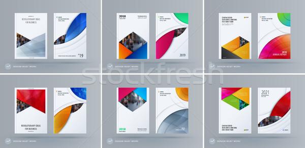 Folleto diseno rectangular plantilla colorido moderna Foto stock © Diamond-Graphics