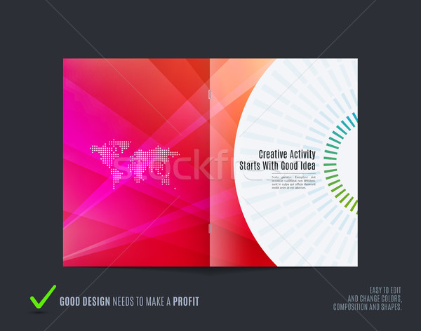 Abstract brochure design, modern catalog, centerfold cover, flyer in A4 with colourful rays Stock photo © Diamond-Graphics