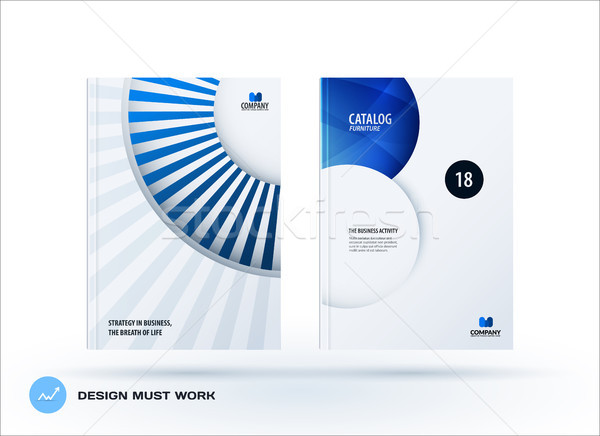 Creative design of blue green business brochure set, abstract horizontal cover layout, flyer Stock photo © Diamond-Graphics
