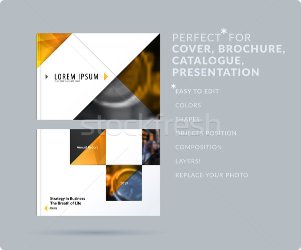 Triangular design presentation template with colourful triangles and diagonals. Abstract vector set  Stock photo © Diamond-Graphics