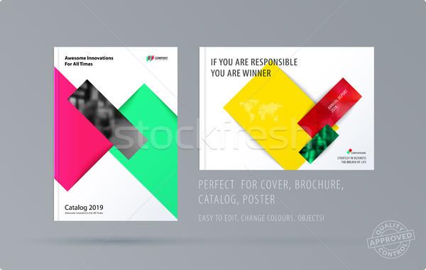 брошюра дизайна прямоугольный шаблон современных Сток-фото © Diamond-Graphics