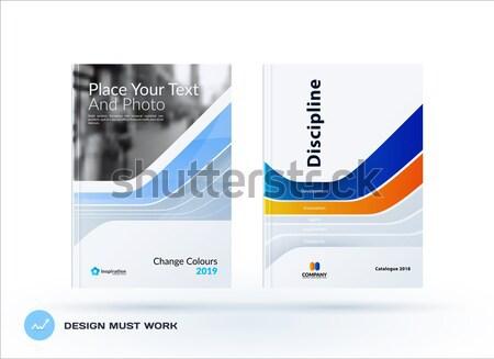 Kreatív terv kék üzlet brosúra szett Stock fotó © Diamond-Graphics