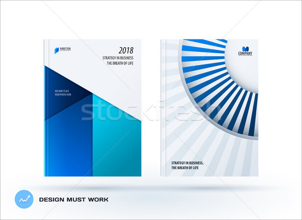 Material design template. Creative blue colourful abstract brochure set, annual report, horizontal c Stock photo © Diamond-Graphics