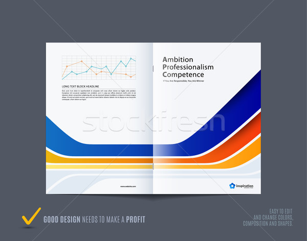 Abstract brochure design, modern catalog, centerfold cover, flyer in A4 with blue orange colourful s Stock photo © Diamond-Graphics