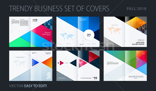 Stock photo: Abstract colourful brochure in material design paper cut style, modern catalog, centerfold cover