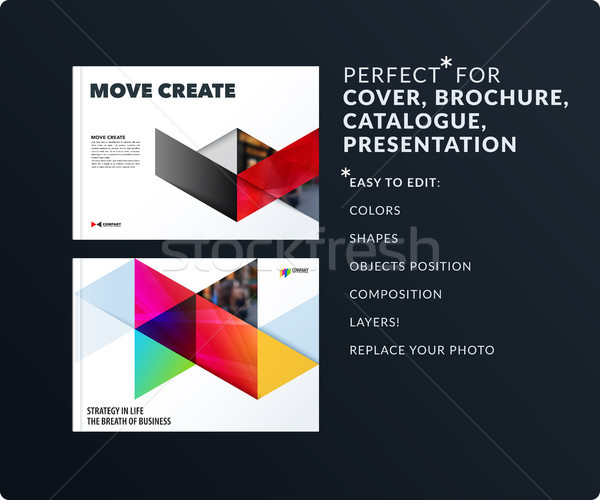 Triangular design presentation template with colourful rectangles shadows. Abstract vector set of mo Stock photo © Diamond-Graphics
