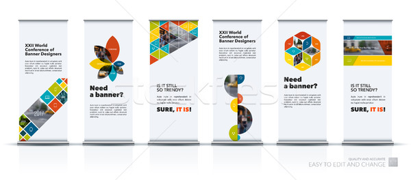Vector set of modern roll Up Banner stand design with triangles, rectangular elements, squares, circ Stock photo © Diamond-Graphics