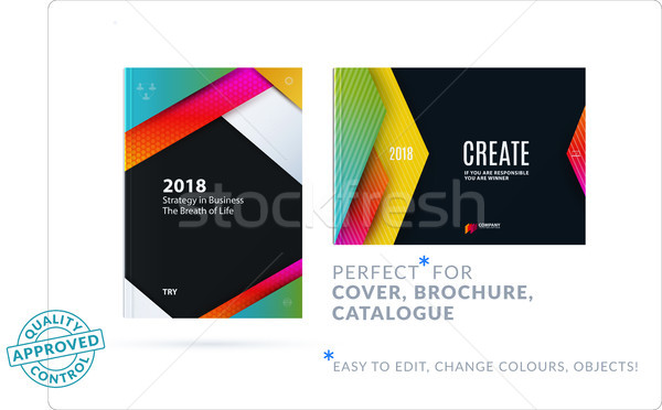 Material design of brochure set, abstract annual report, horizontal cover layout, flyer Stock photo © Diamond-Graphics
