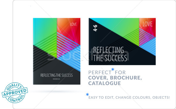 Material design template. Creative colourful abstract brochure set, annual report on black backgroun Stock photo © Diamond-Graphics