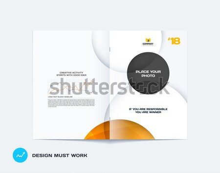 Template. Creative abstract design of brochure set, horizontal cover, flyer in A4 with yellow grey c Stock photo © Diamond-Graphics