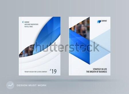 Streszczenie broszura projektu sześciokąt stylu niebieski Zdjęcia stock © Diamond-Graphics
