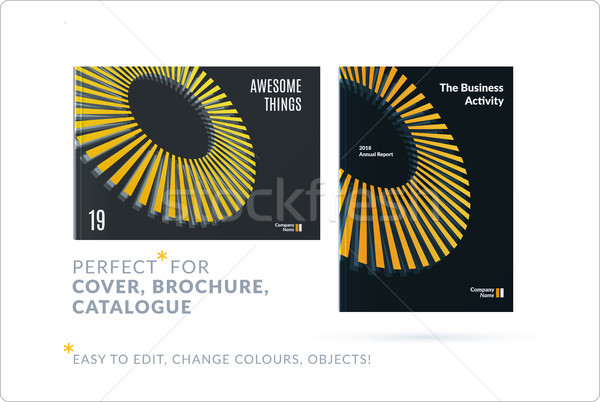 Template. Creative yellow grey abstract design of brochure set, horizontal cover, flyer in A4 with c Stock photo © Diamond-Graphics