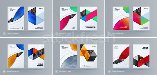 Brochure design round template. Colourful modern abstract set, annual report with circle for brandin Stock photo © Diamond-Graphics