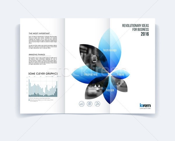 Tri-fold Brochure template layout, cover design, flyer in A4 wit Stock photo © Diamond-Graphics