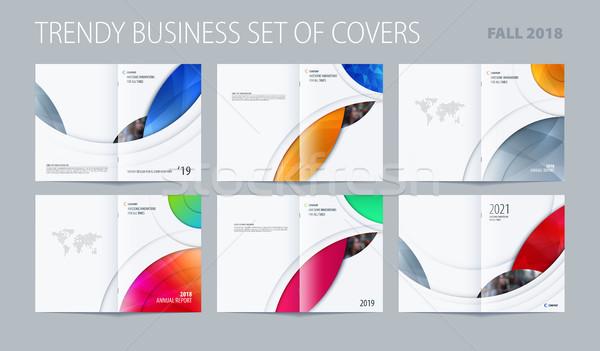 Streszczenie broszura projektu stylu kolorowy circles Zdjęcia stock © Diamond-Graphics