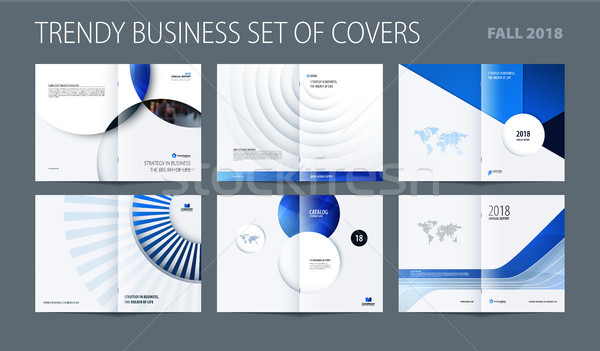 Design set of blue abstract double-page brochure with colourful circles, quares, triangles for brand Stock photo © Diamond-Graphics