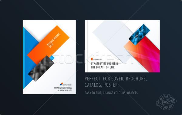 Brochure design rettangolare modello colorato moderno Foto d'archivio © Diamond-Graphics
