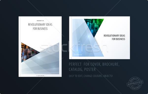 Brosúra terv négyszögletes sablon színes modern Stock fotó © Diamond-Graphics