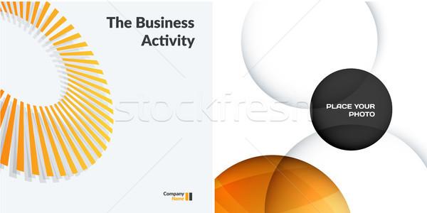 Ingesteld Geel grijs abstract vector ontwerp Stockfoto © Diamond-Graphics