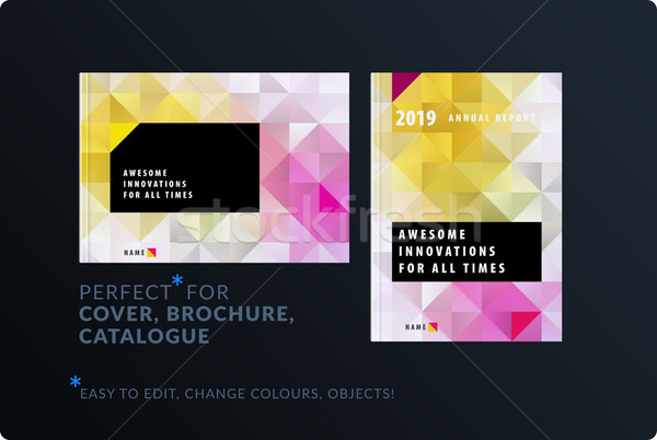 Template. Creative abstract design of brochure set, horizontal cover, flyer in A4 Stock photo © Diamond-Graphics
