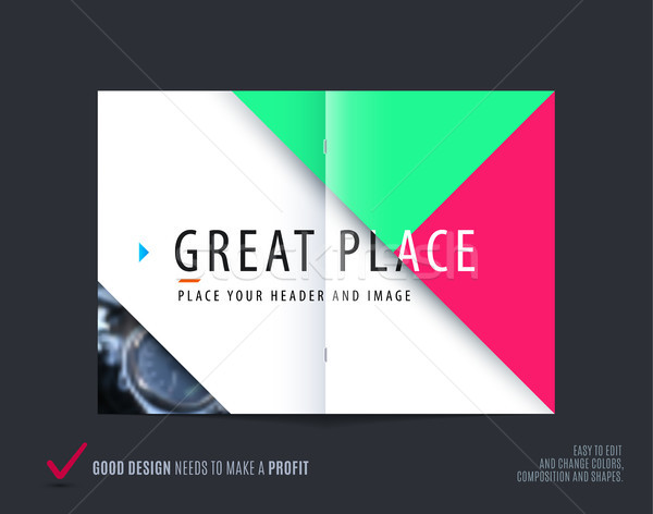 Abstract double-page brochure design triangular style with colourful triangles for branding. Busines Stock photo © Diamond-Graphics